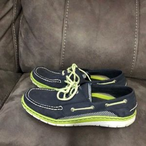 Men's Sherry boat shoes size 10 Navy and green.